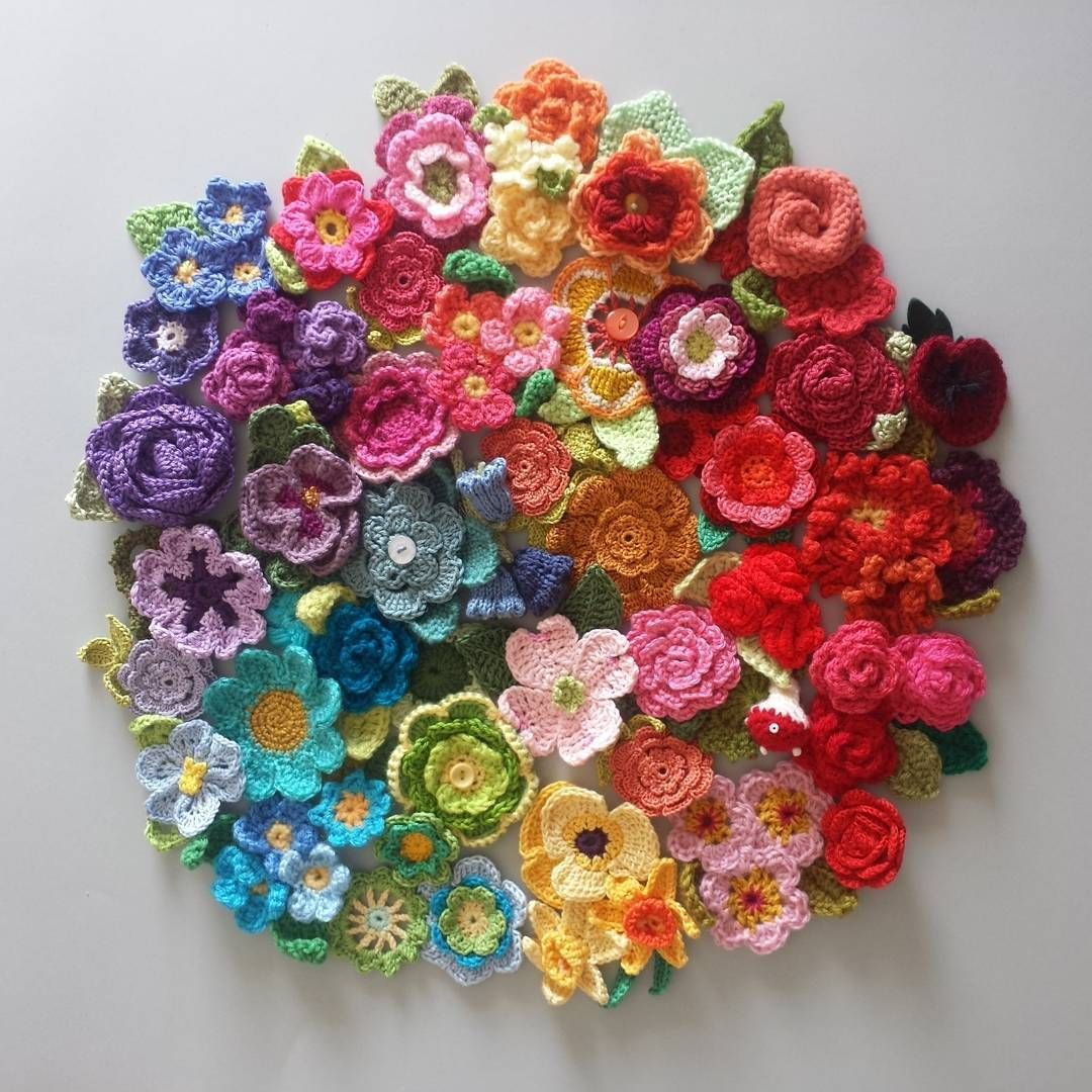 Photo of Flower making with knitting slices.  As someone who likes to make different moti…