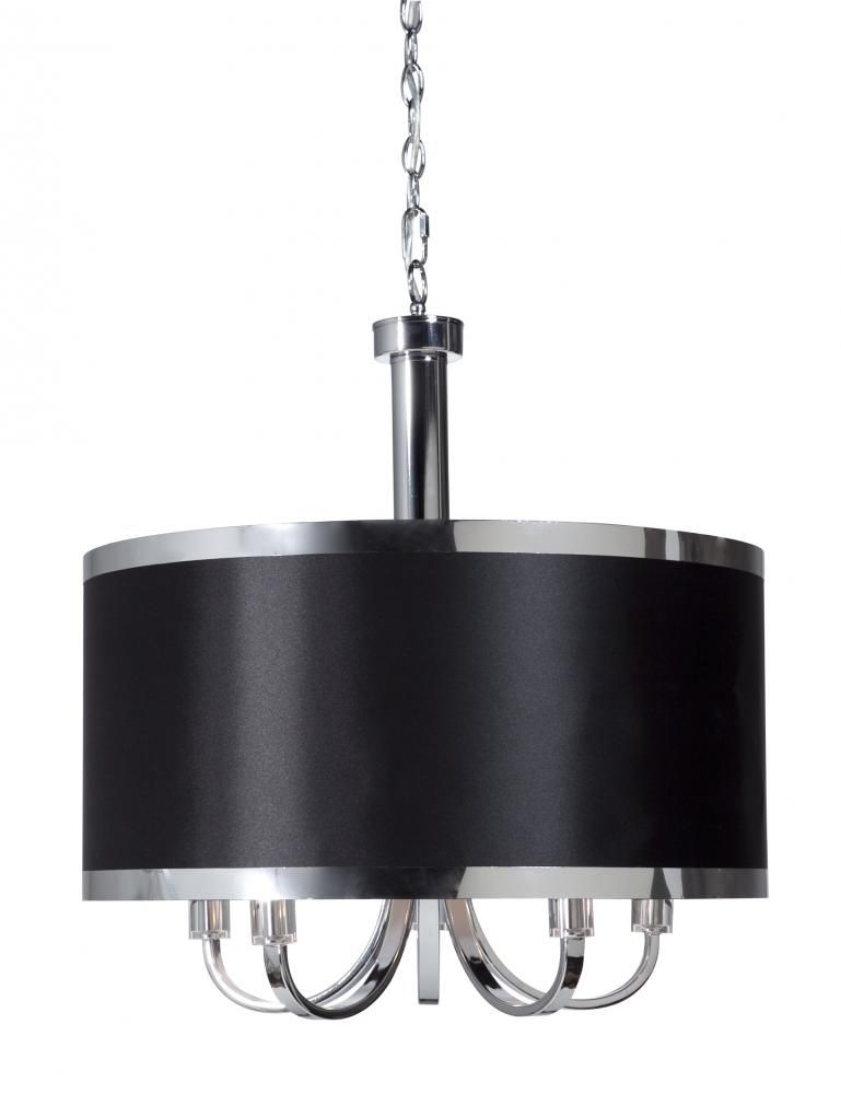 Five Light Chrome Black Shade Drum Chandelier Sc435bk Living Lighting Home Office