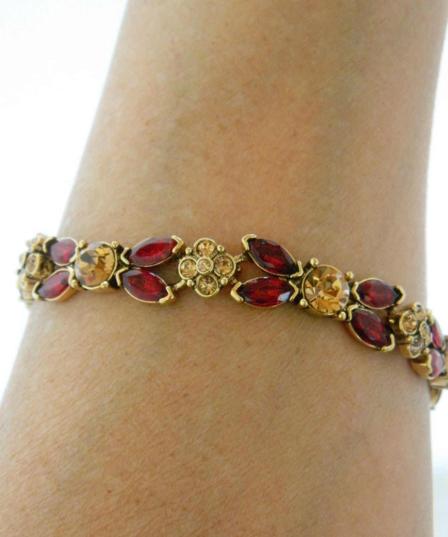 Vintage Monet Rhinestone Bangle Bracelet Flower Links Red Gold Tone