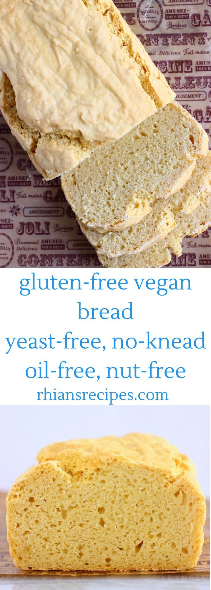 This Gluten-Free Vegan Bread is no-knead, yeast-free ...