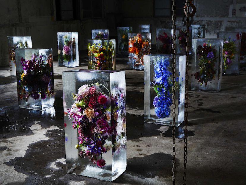 Azuma Makoto flower artists collaborations with Gucci, Dries Van Noten,  Perrier Jouet, Herman