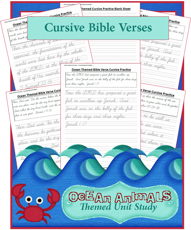 ocean animals unit study bible verse cursive writing sheets free homeschool printables and. Black Bedroom Furniture Sets. Home Design Ideas