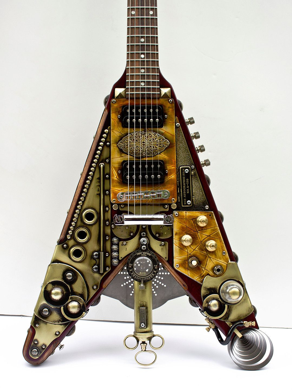 gibson flying v steampunk guitar custom made vee 1 lansing 39 s world of fabulous guitars. Black Bedroom Furniture Sets. Home Design Ideas