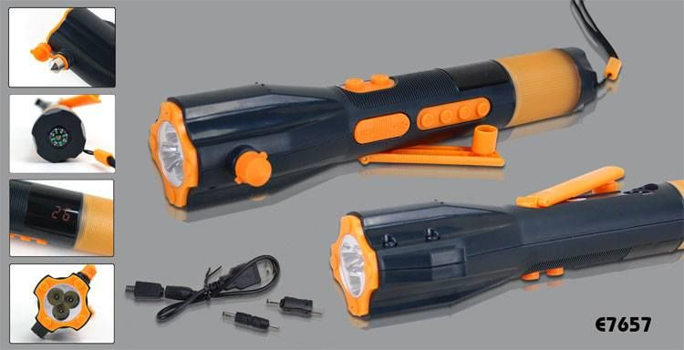 Item name:Multifunctional Flashlight w/FM & AM Radio & Compass & Mobile Phone Charger contact mail:te11@vip.163.com