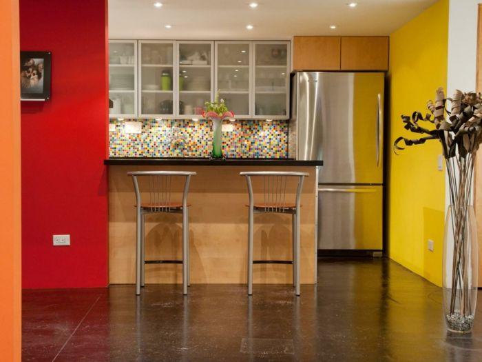 Beautiful Wände Streichen Ideen Küche Rot Gelb Küchenrückwand Mosaikfliesen Amazing Pictures