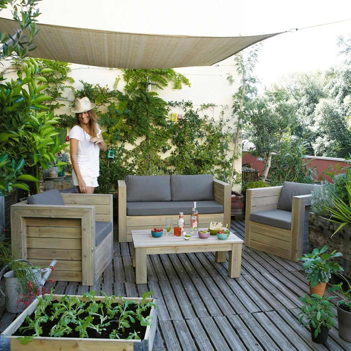 Banquette de jardin, fauteuil et table gris BREHAT | Projets à ...