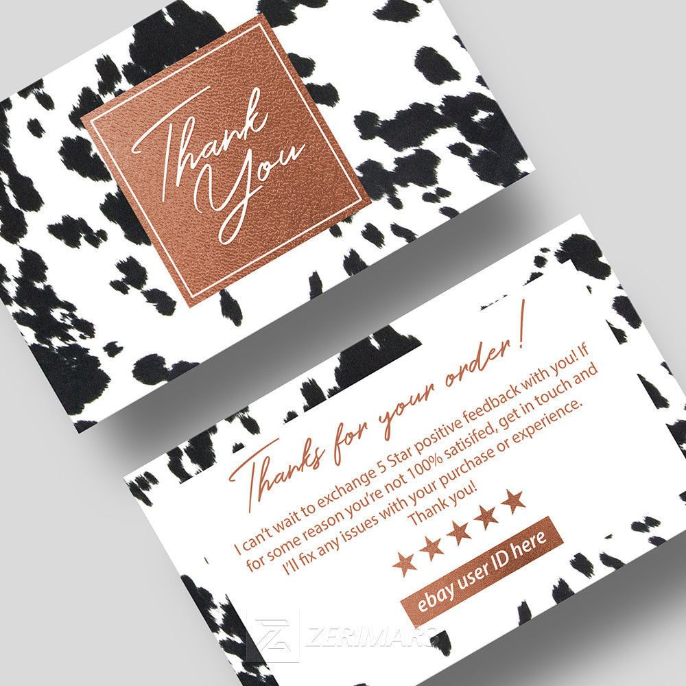 500 Thank You Cards Store Seller Business Cards 16pt UV for Etsy