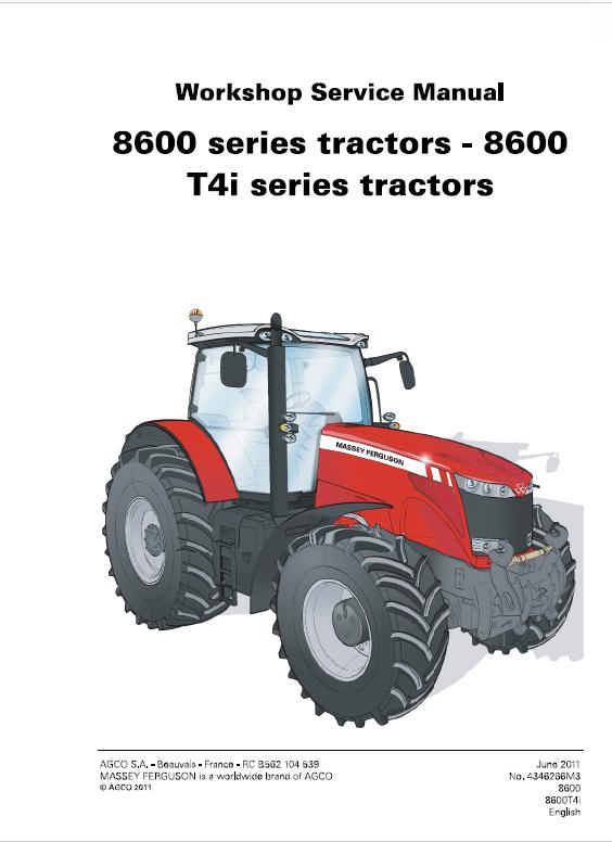 Massey Ferguson 8650 8660 8670 8680 8690 Tier 4i Tractor Service Manual Tractors Massey Ferguson Manual