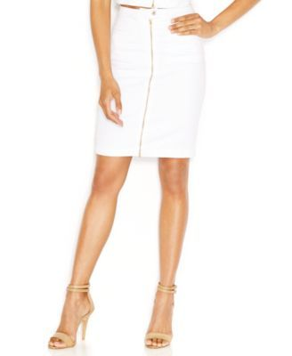 7 For All Mankind Zip-Front Pencil Skirt, Runway White Wash