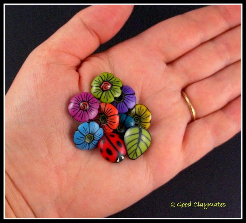 2 Good Claymates: Small Buttons - Mini Brilliant Blooms