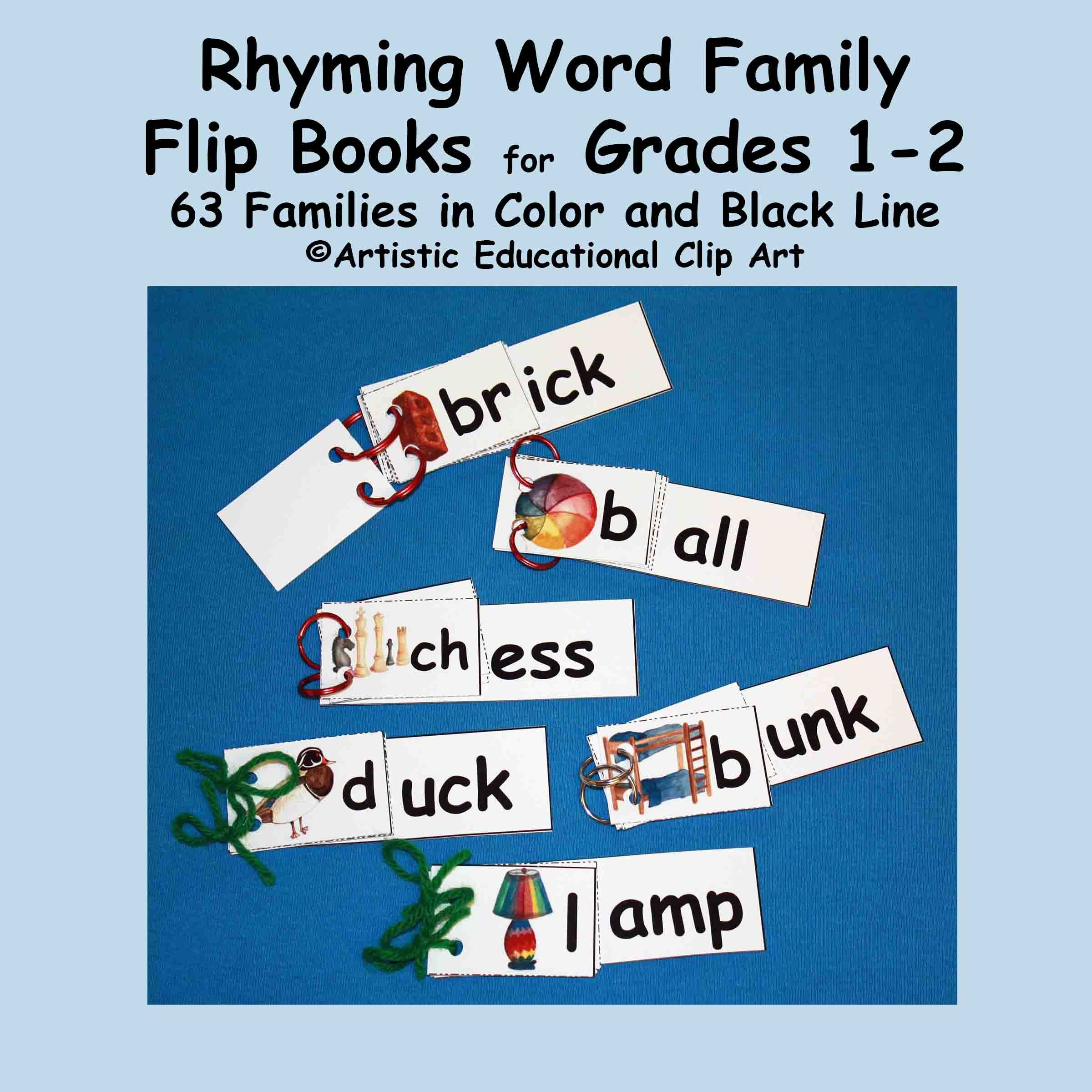 Rhyming Activities Flip Books For First And Second Grades