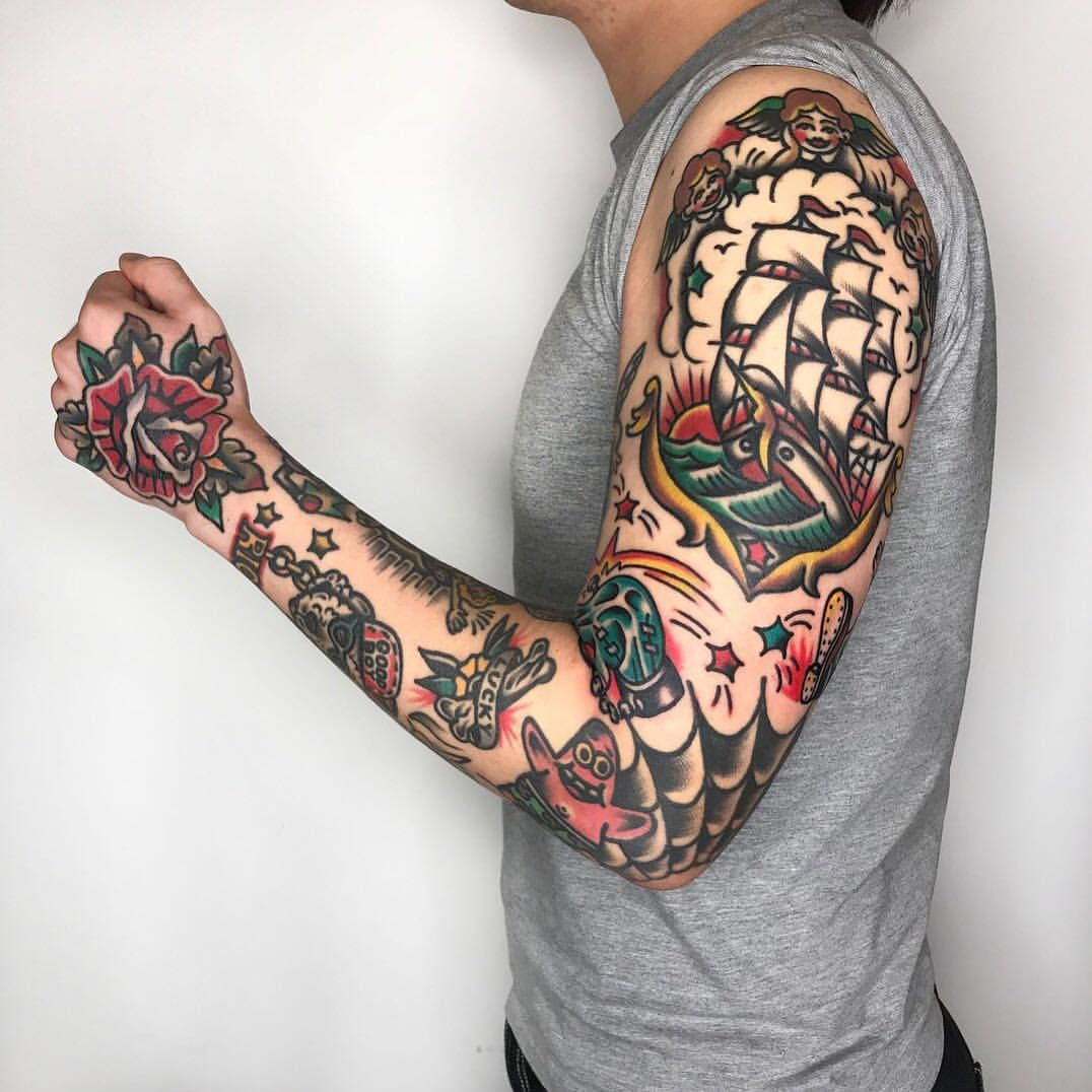 Pin By Kenny On Traditional Tats Traditional Tattoo Sleeve Tattoos Tattoo Sleeve Filler