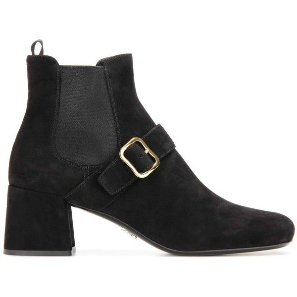 Prada Suede Ankle Boots (3.300 BRL) ❤ liked on Polyvore featuring shoes, boots, ankle booties, black ankle boots, short black boots, short boots, suede bootie and black bootie