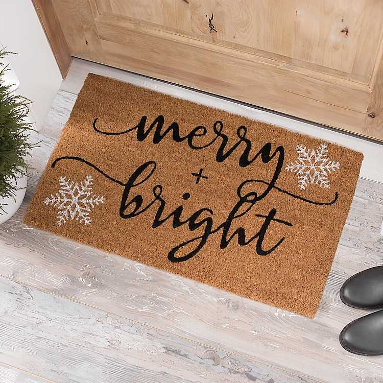 Merry And Bright Snowflakes Coir Doormat Christmas Doormat