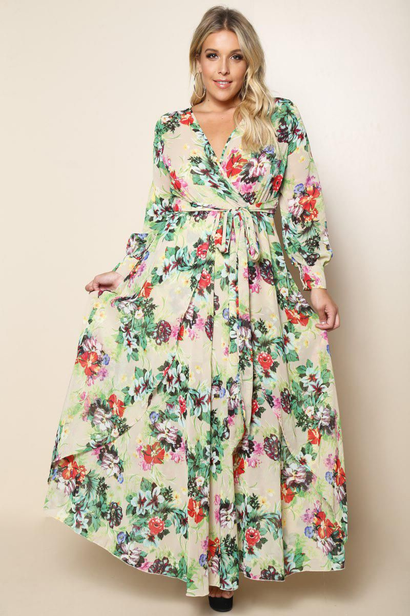 An enchanting plus size maxi dress with a cute multicolored floral