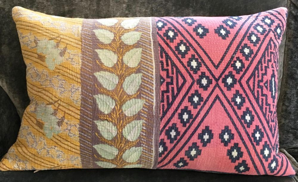 Pillow Cushion Cover Kantha 16 X 24 Inch 40 60 Cm Pink Yellow Flowers Handmade With Pion By Rebeccasaix On Etsy