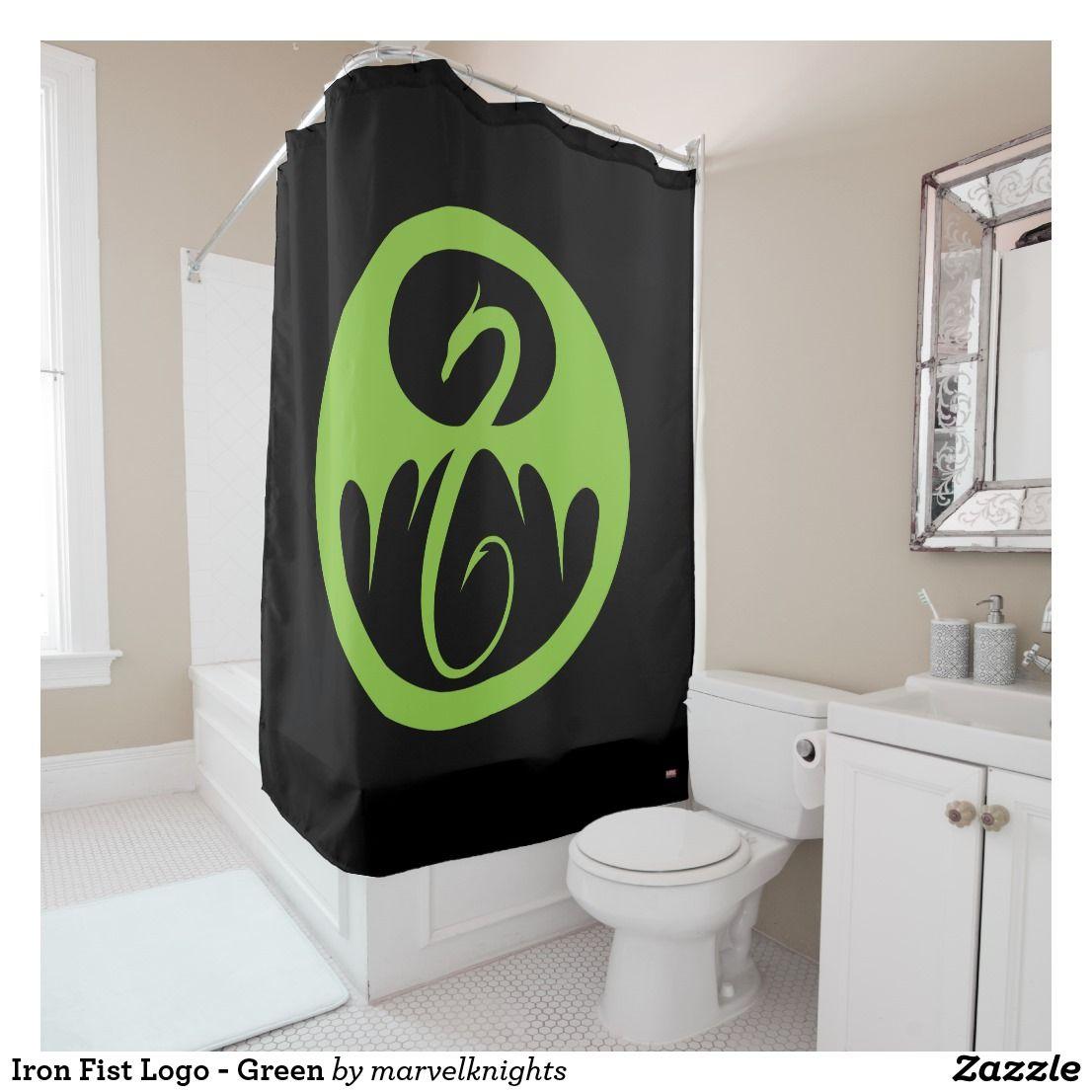 Iron fist logo green shower curtain iron fist pinterest