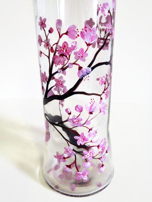 Cherry Blossom Hand Painted Glass Olive Oil Vinegar Dispenser Bottle Cruet Flowering Tree Branch St Bottle Crafts Glass Bottle Crafts Hand Painted Wine Bottles
