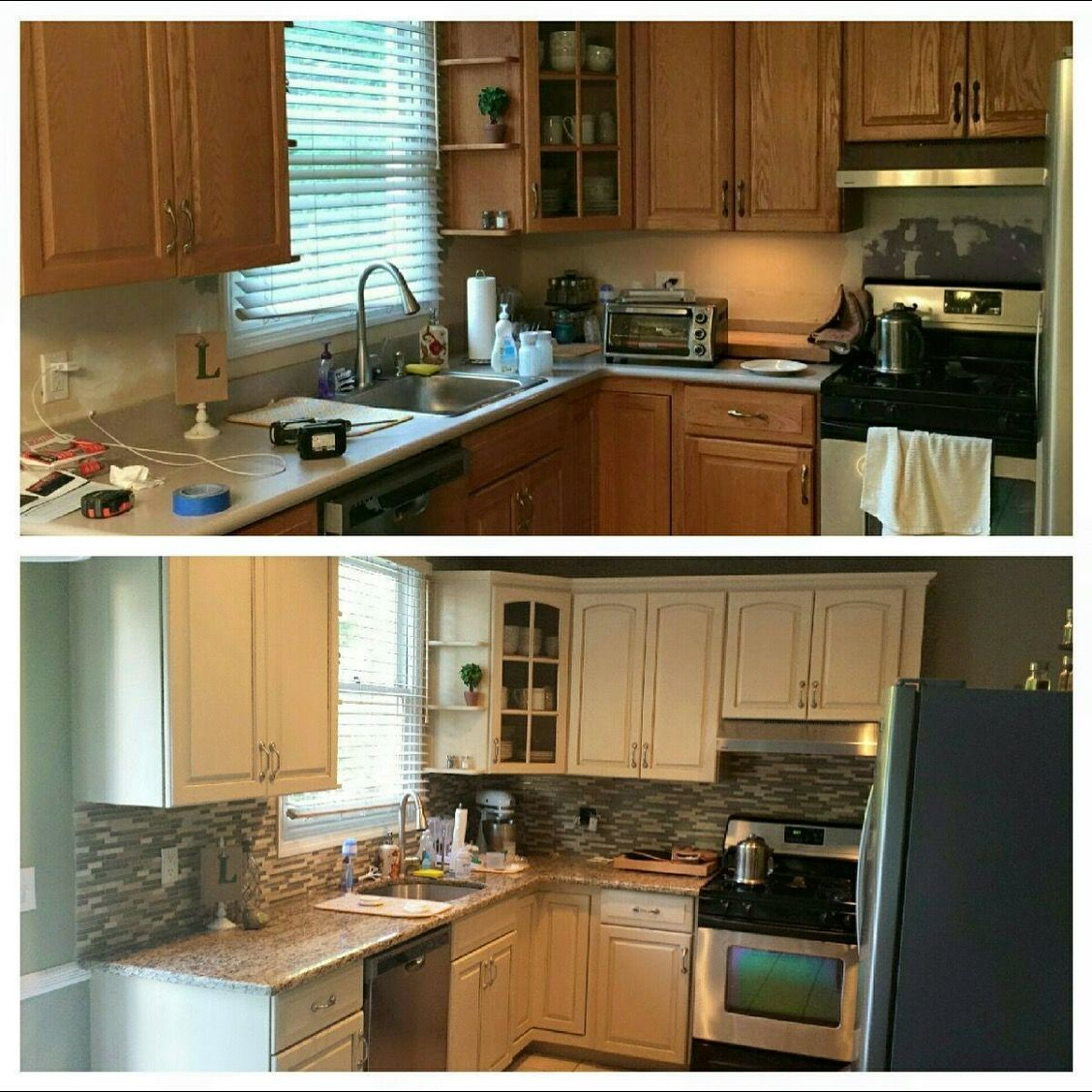 before and after kitchen cabinet refinish in old ochre chalk paint κουζίνες on kitchen cabinets painted before and after id=30716