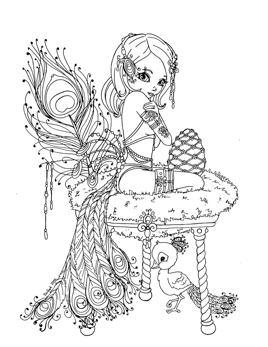 Peacock Princess By Jadedragonne On Deviantart Tattoos Pin Up Coloring Book Free