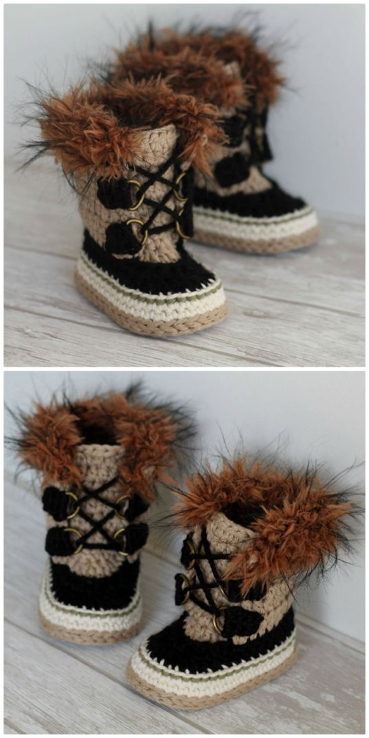You Will Love These Crochet Baby Snow Boots Patterns #crochetbabyboots