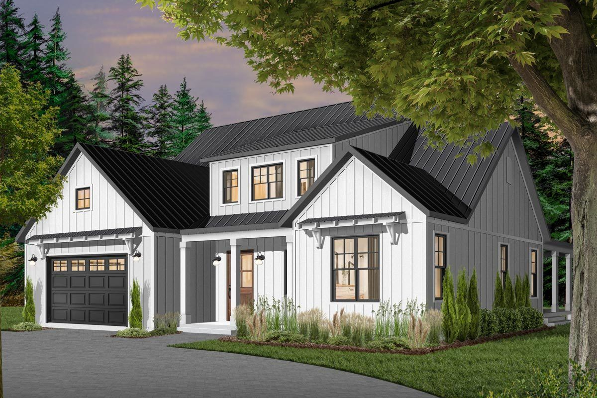 SplitBedroom Modern Farmhouse Plan with MainFloor Master