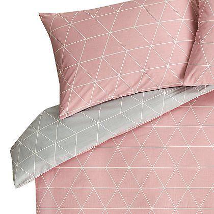 Reversible Pink Grey Geometric Print Duvet Cover Home Garden