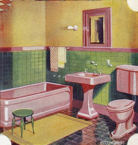 Pink Green And Yellow 1950s Bathroom This Is The Color Palette For My Vintage Camper