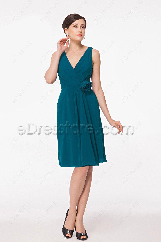 Teal Knee Length Dresses