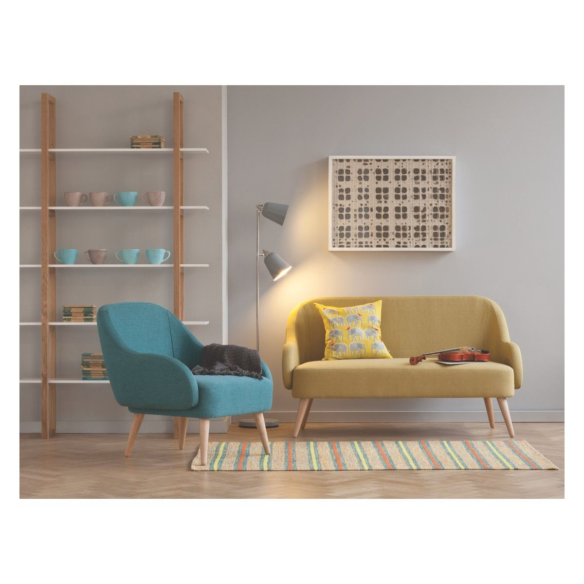 MOMO Saffron Yellow Fabric 2 Seater Sofa