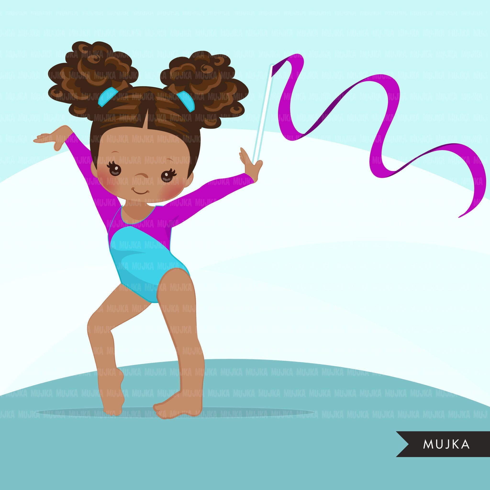 Gymnastics Clipart Gymnast Black Girls Sports School Activity Commercial Use Png Graphics In 2020 Clip Art Gymnastics School Activities
