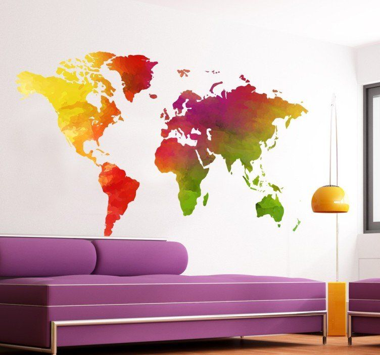 Multi Coloured World Map Sticker Cool Images Pinterest