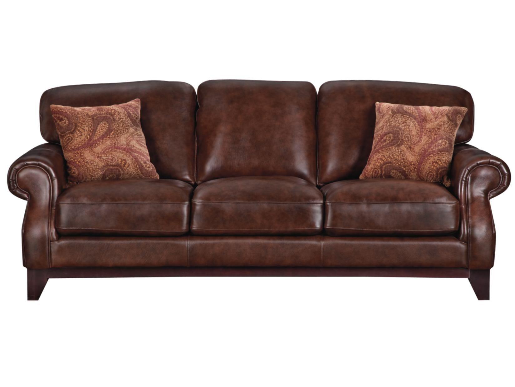 Carlton Chocolate Leather Sofa American Signature