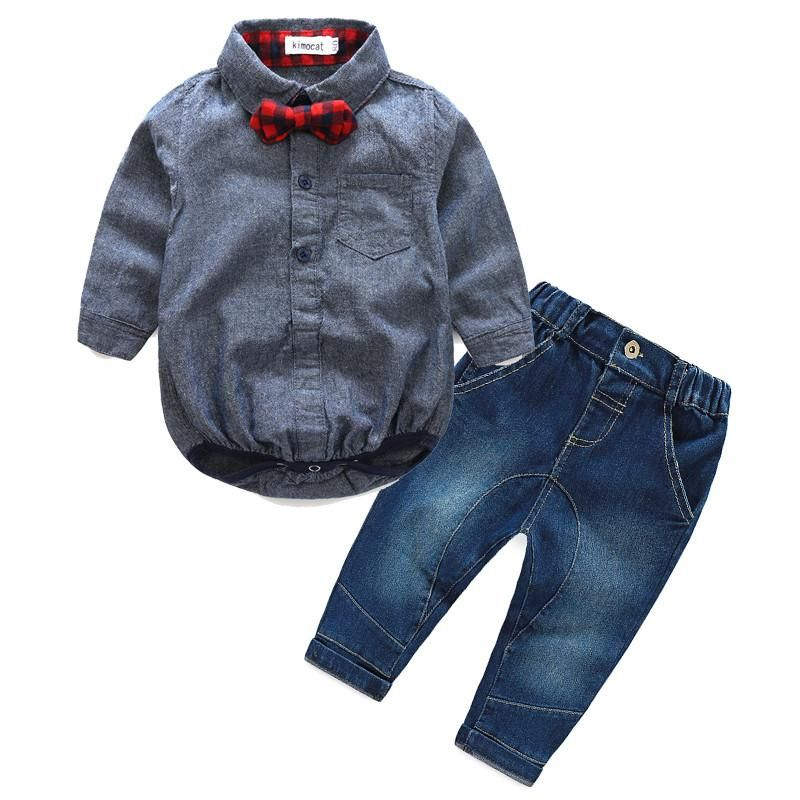 3ac663a4af8c Baby Boys Long Sleeve Checkered Shirt with Bow Tie and Jeans Set ...