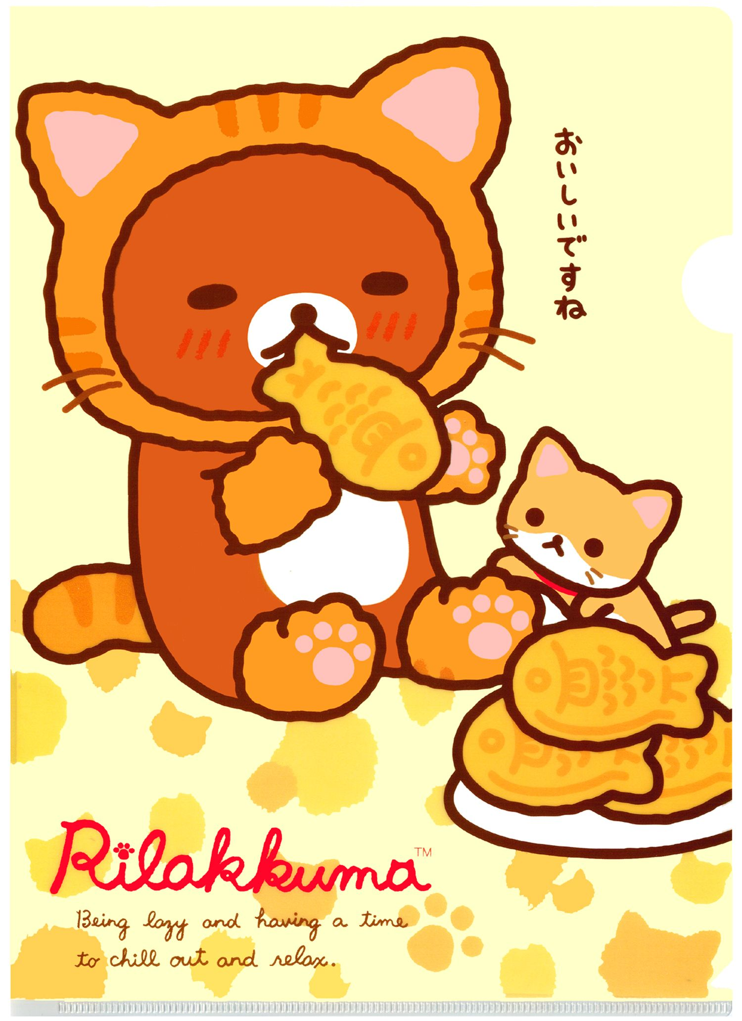 Wallpaper iphone san x - San X Rilakkuma Cat Plastic File Folder Taiyaki