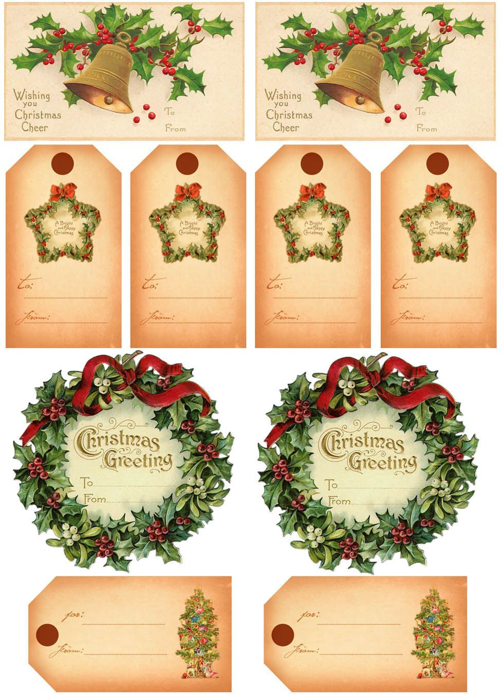 free printable vintage gift tags clip art of a printable page of christmas gift tags - Vintage Christmas Gifts
