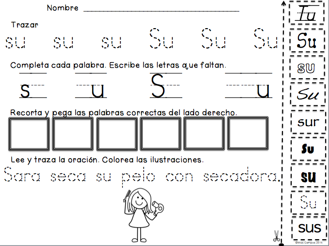 Letra S Silabas sa se si so su  SPANISH Learning