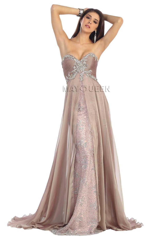 Long prom dresses strapless lace applique sequins mesh dress