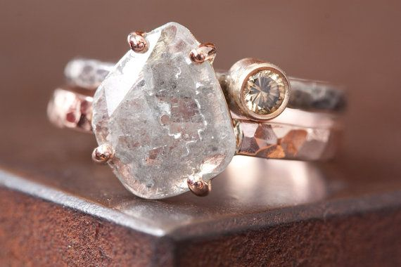 Natural Diamond Slice Ring in 14kt Rose Goldlarge by LexLuxe, $995.00