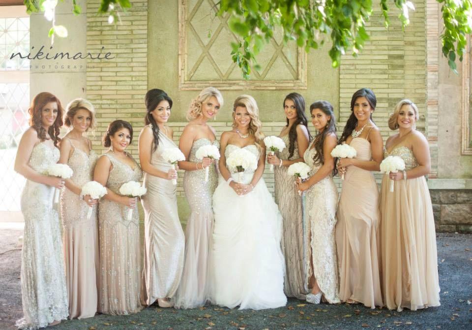 Nude Bridesmaid Dresses, Ivory Wedding, White Roses, Glitz
