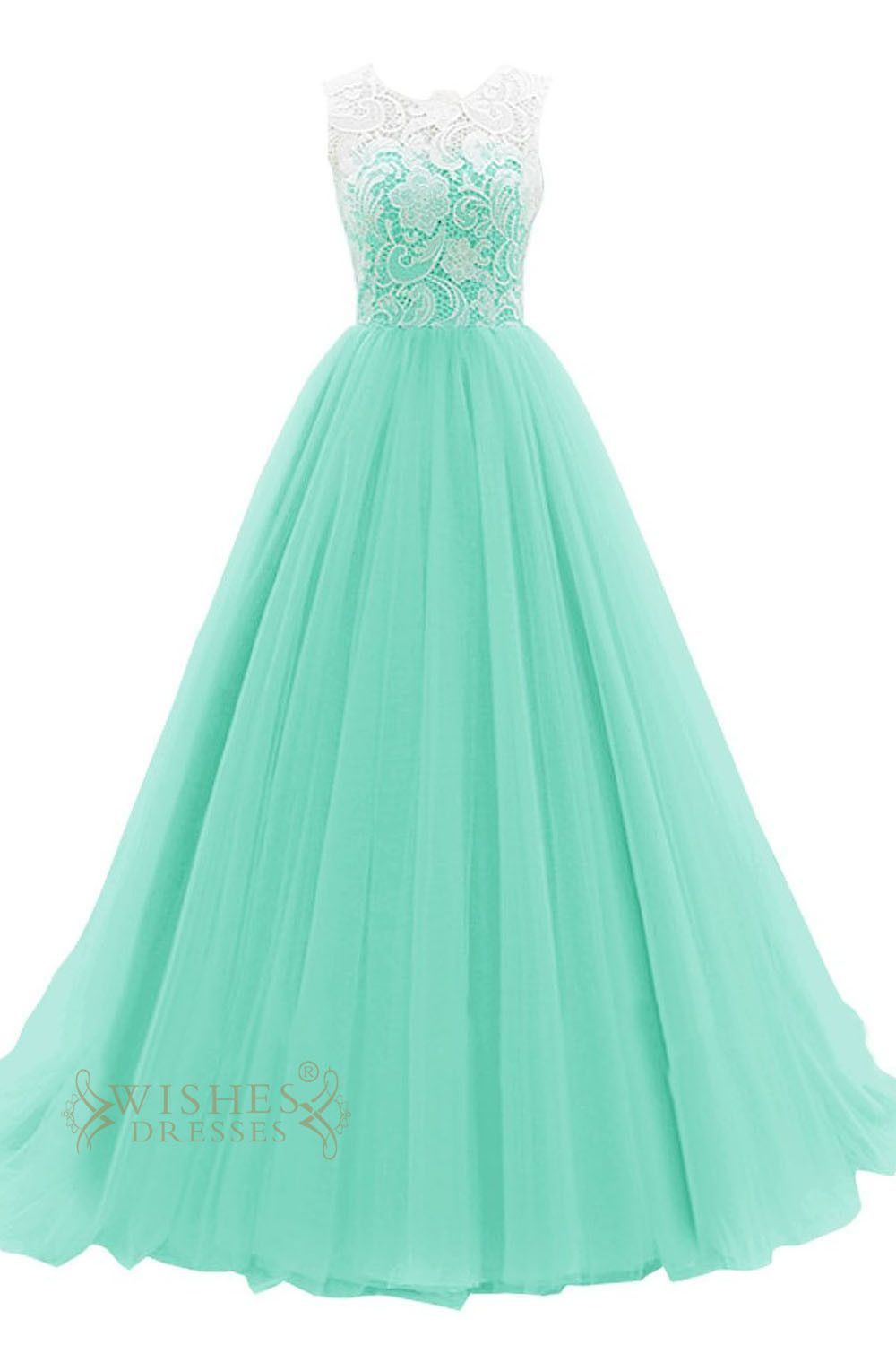 Hotsale turquoise organza formal dress with white lace top prom