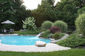 Landscape Berms Around Pool Stone Walking Path Design