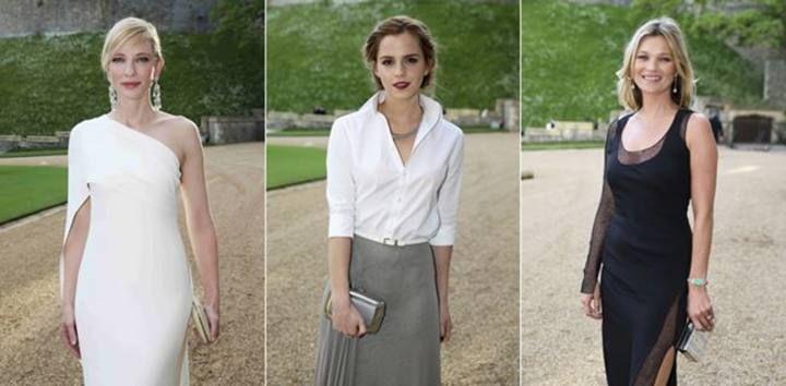 Emma Watson, Cate Blanchett, Kate Moss, Cara Delevigne y Helena Bonham Carter fueron algunos de los rostros conocidos que se acercaron hasta la cena solidaria del Príncipe Guillermo