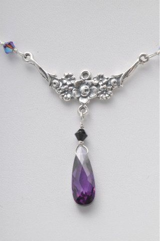 Purple crystal and sterling silver
