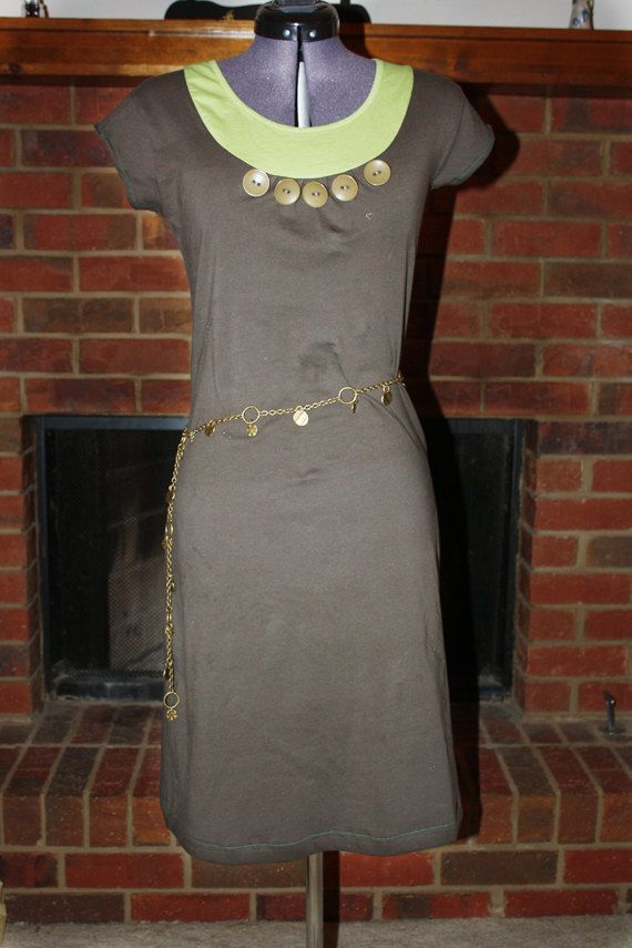 Brown/Green dress with accent buttons by KAiJ Designs on Etsy