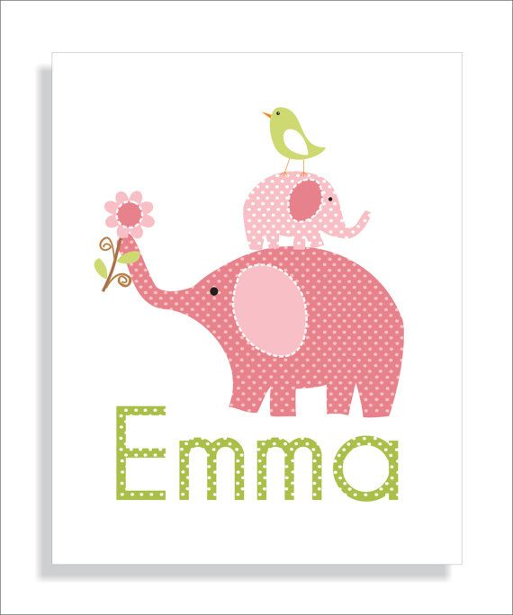 Elephants, Birds, Owls and Tree Childrens Art Prints, Nursery Wall Art -Pink, Brown, and Green- Set of three 8x10 Personalized