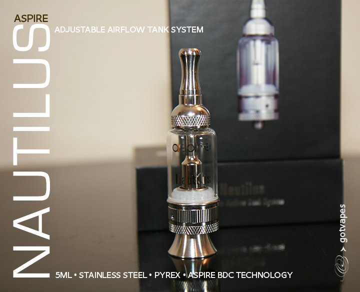 NEW Aspire Nautilus 5ML Glassomizer w/ Adjustable AirFlow STNLS