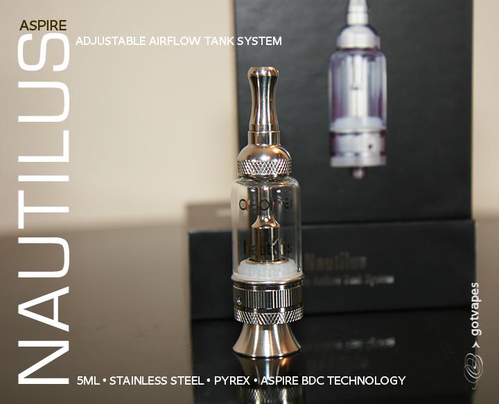 NEW Aspire Nautilus 5ML Glassomizer w/ Adjustable AirFlow STNLS