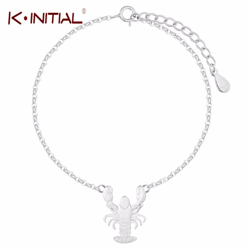 Kinitial animals theme lobster bangle bracelet sterling silver