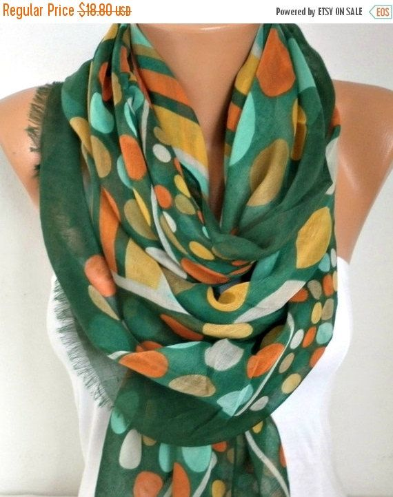 ON SALE  Green Polka Dot Cotton Scarf Spring Summer by fatwoman